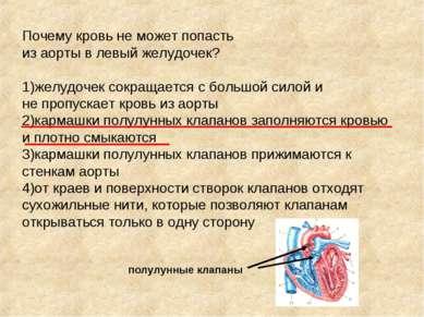 Почему кровь не может попасть из аорты в левый желудочек? 1)желудочек сокраща...