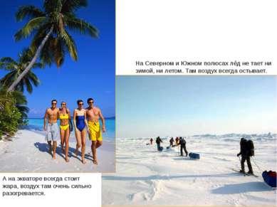 Экватор и полюса На Северном и Южном полюсах лёд не тает ни зимой, ни летом. ...