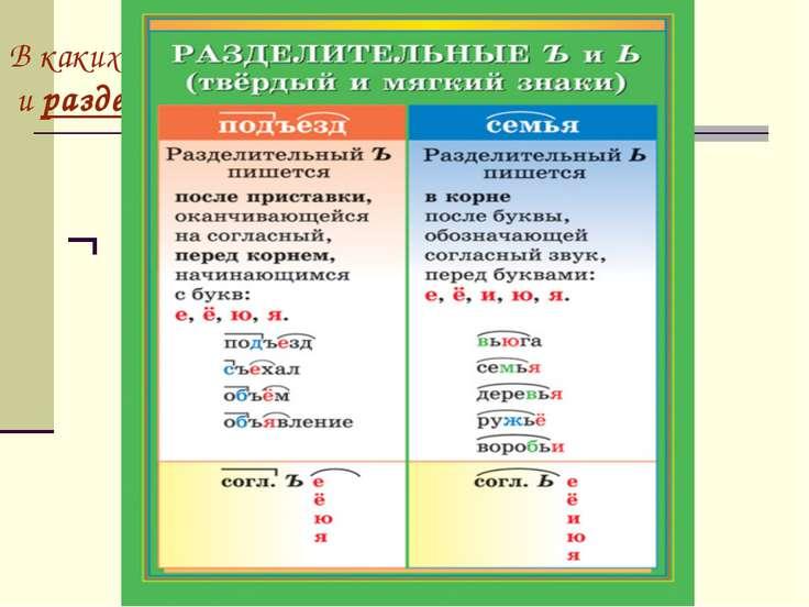 В каких случаях пишется разделительный ъ и разделительный ь знаки? ¬