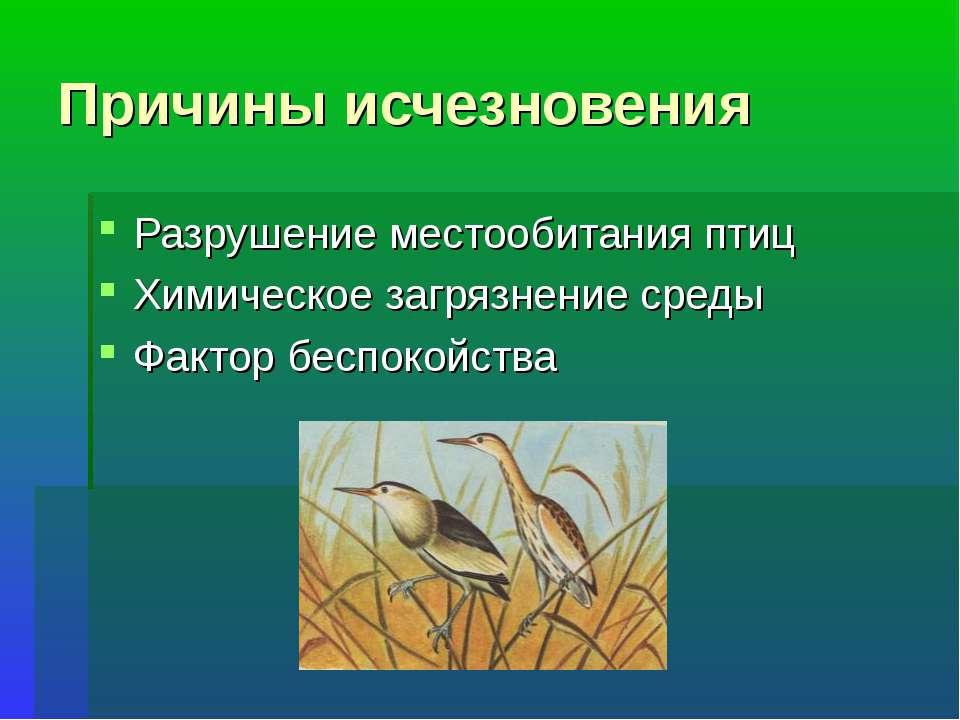 Причины исчезновения Разрушение местообитания птиц Химическое загрязнение сре...