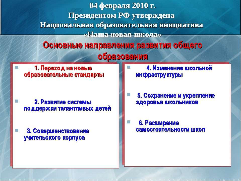 04 февраля 2010 г. Президентом РФ утверждена Национальная образовательная ини...