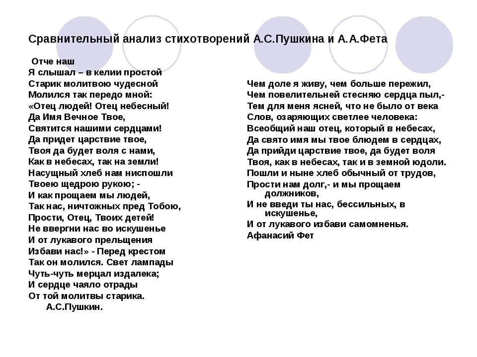 Сравнительный анализ стихотворений А.С.Пушкина и А.А.Фета Отче наш Я слышал –...