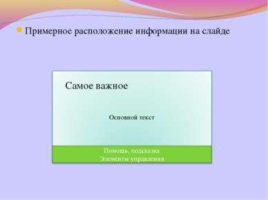 Примерное расположение информации на слайде Помощь, подсказка Элементы упра...