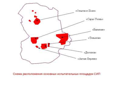 Схема расположения основных испытательных площадок СИП