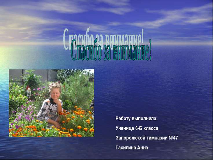Работу выполнила: Ученица 6-Б класса Запорожской гимназии №47 Гасилина Анна