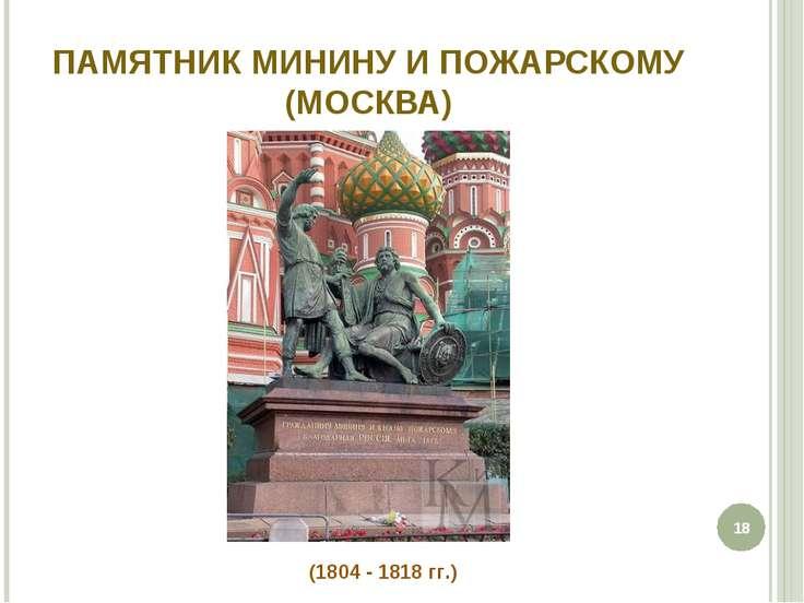 ПАМЯТНИК МИНИНУ И ПОЖАРСКОМУ (МОСКВА) * (1804 - 1818 гг.)