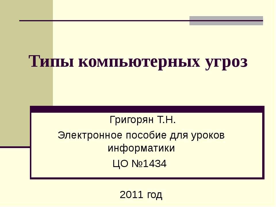 Типы компьютерных угроз Григорян Т.Н. Электронное пособие для уроков информат...