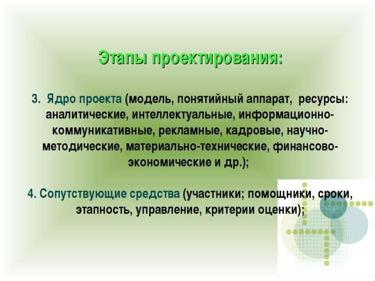 Этапы проектирования: 3. Ядро проекта (модель, понятийный аппарат, ресурсы: а...