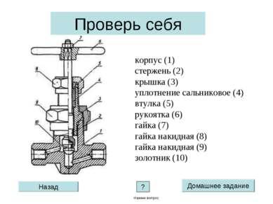 корпус (1) стержень (2) крышка (3) уплотнение сальниковое (4) втулка (5) руко...