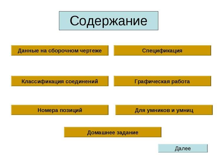 Содержание Данные на сборочном чертеже Спецификация Графическая работа Номера...