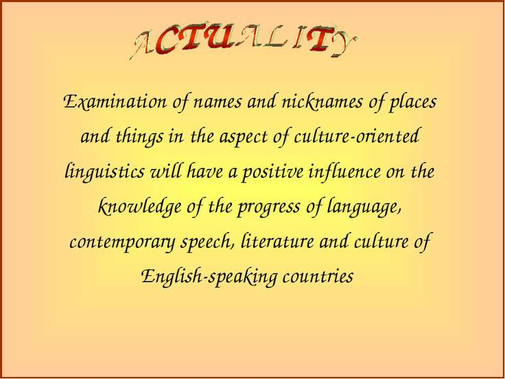 Examination of names and nicknames of places and things in the aspect of cult...
