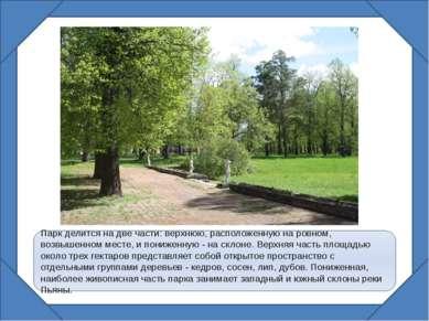Парк делится на две части: верхнюю, расположенную на ровном, возвышенном мест...