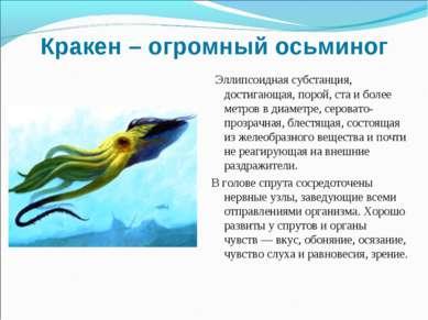 Кракен – огромный осьминог Эллипсоидная субстанция, достигающая, порой, ста и...