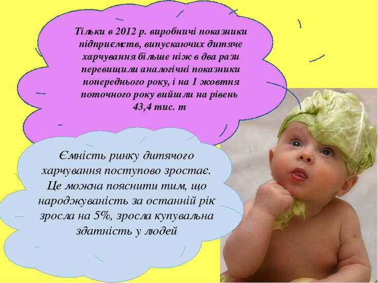 Тільки в 2012 р. виробничі показники підприємств, випускаючих дитяче харчуван...