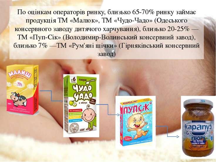По оцінкам операторів ринку, близько 65-70% ринку займає продукція ТМ «Малюк»...