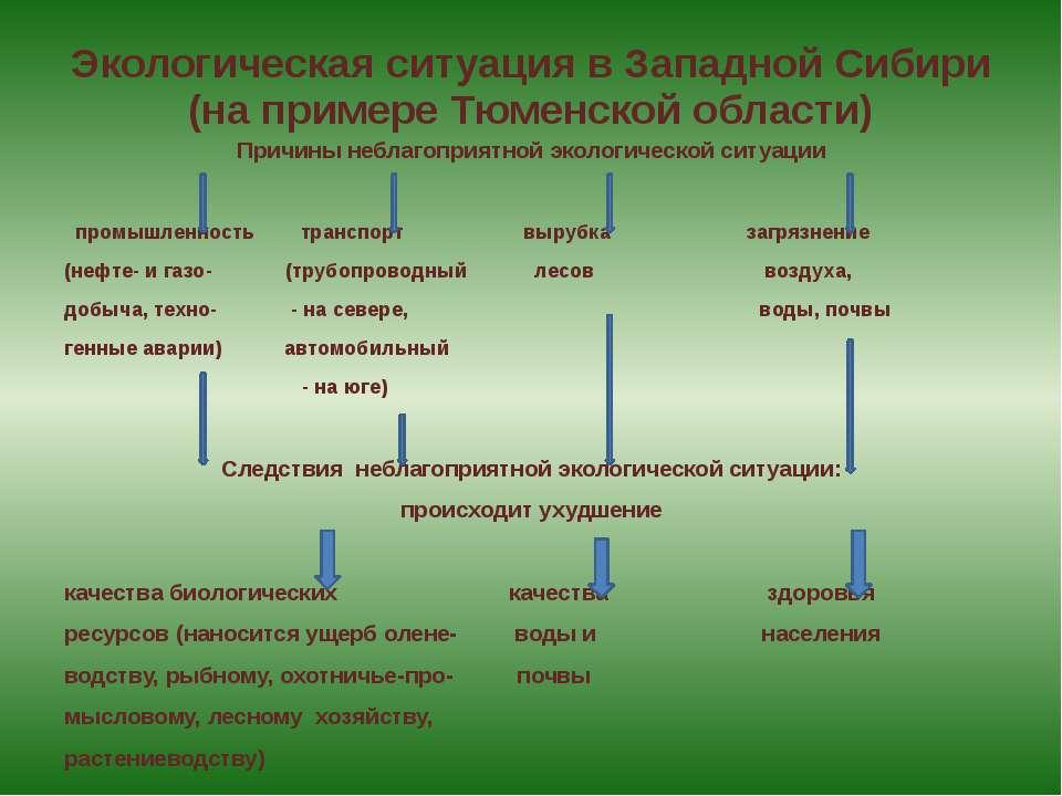 Экологическая ситуация в Западной Сибири (на примере Тюменской области) Причи...