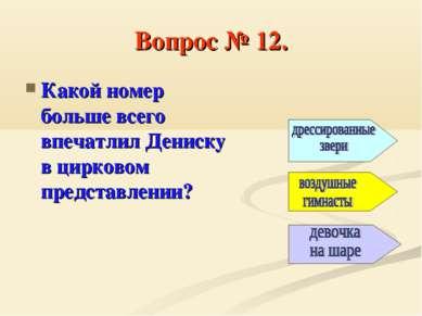 Вопрос № 12. Какой номер больше всего впечатлил Дениску в цирковом представле...