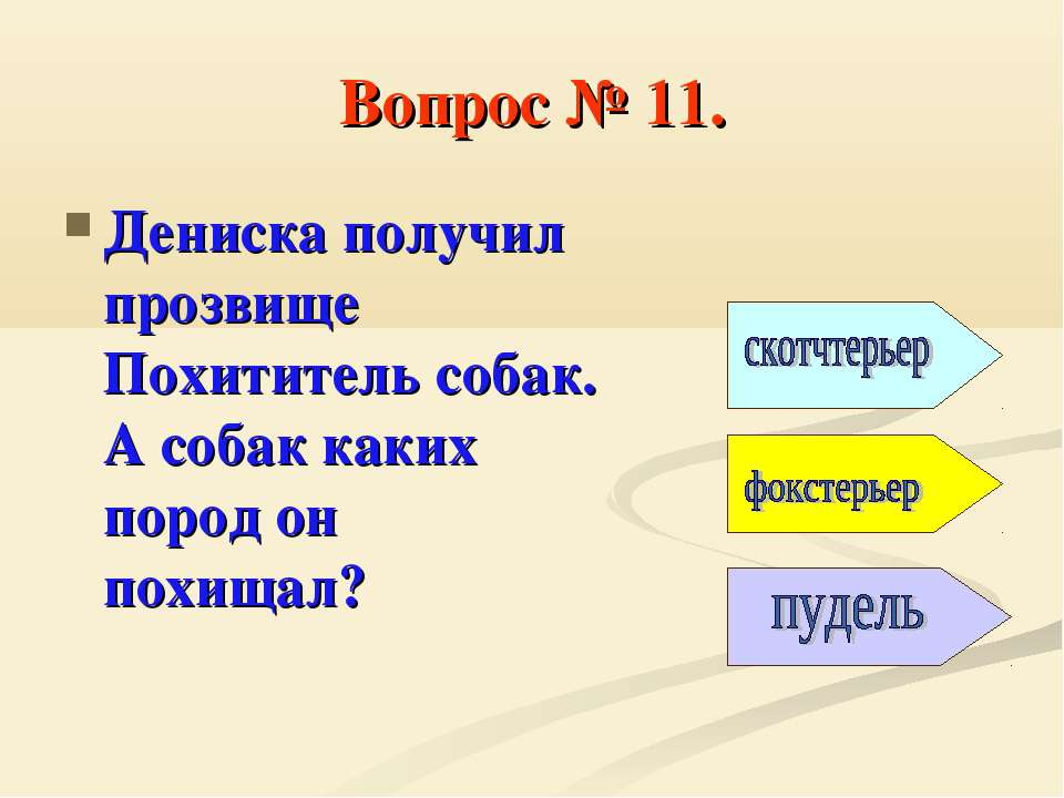 Вопрос № 11. Дениска получил прозвище Похититель собак. А собак каких пород о...