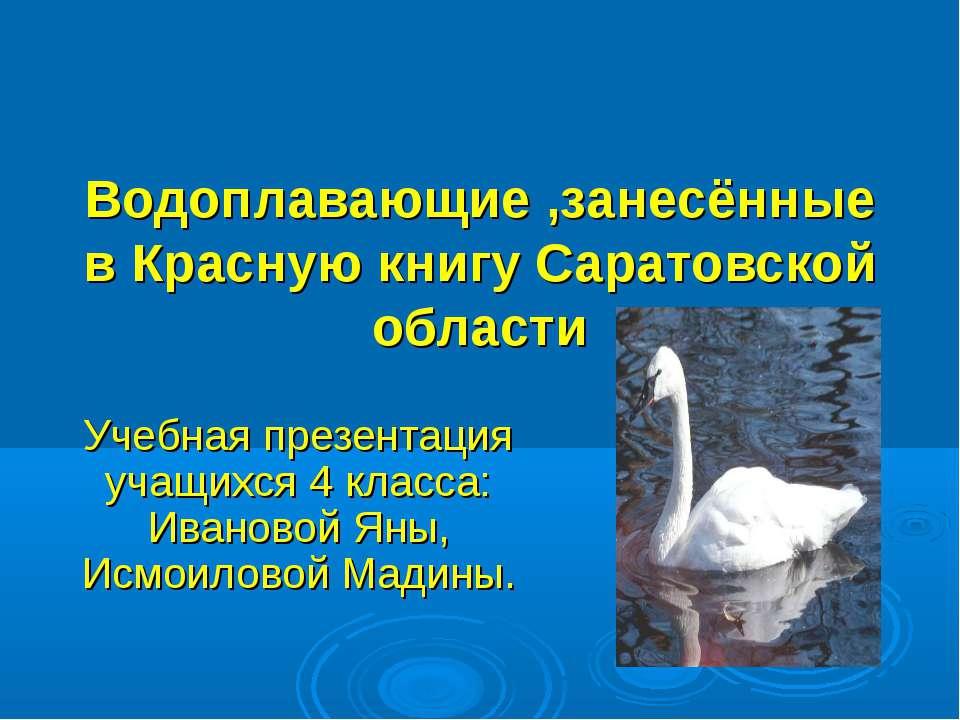 Водоплавающие ,занесённые в Красную книгу Саратовской области Учебная презент...