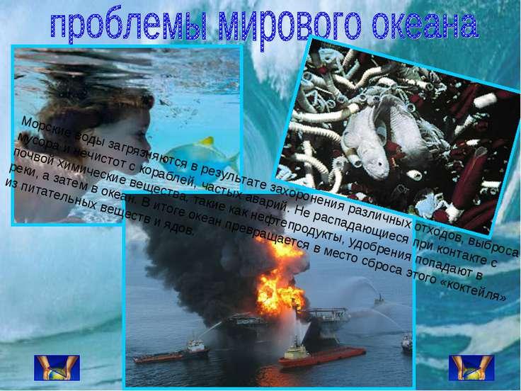 Морские воды загрязняются в результате захоронения различных отходов, выброса...