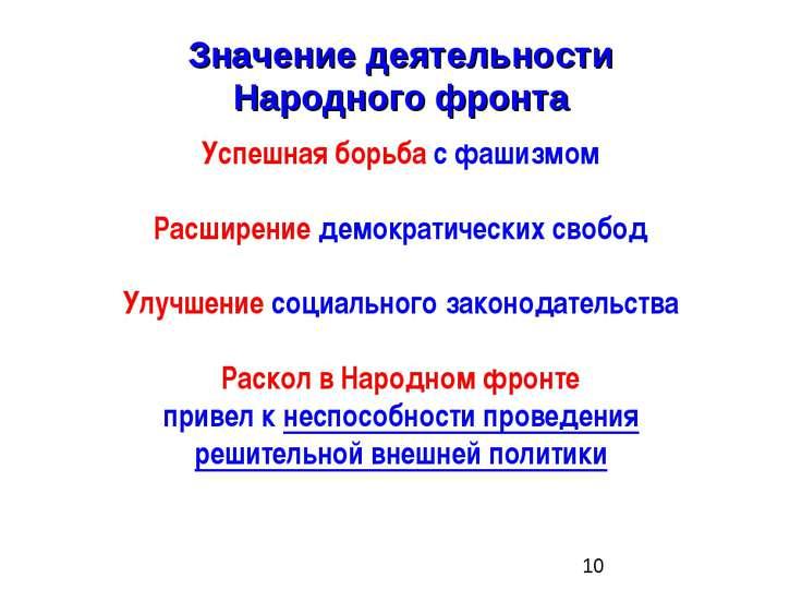 Значение деятельности Народного фронта Успешная борьба с фашизмом Расширение ...