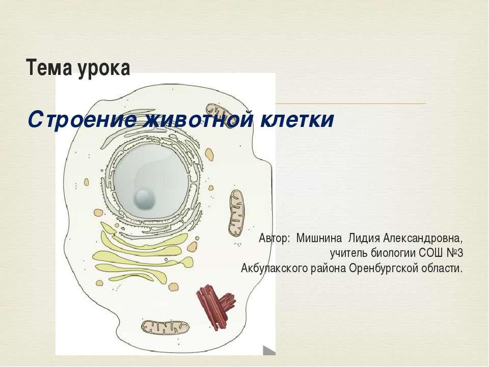 Тема урока Строение животной клетки Автор: Мишнина Лидия Александровна, учите...