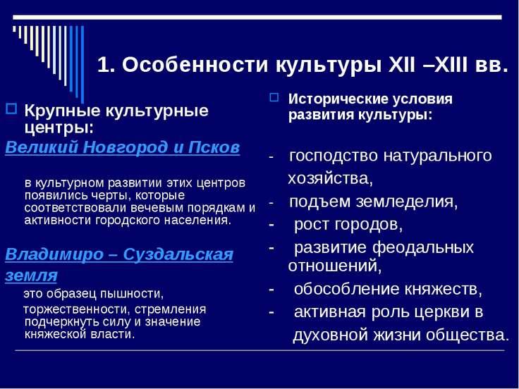 1. Особенности культуры XII –XIII вв. Крупные культурные центры: Великий Новг...