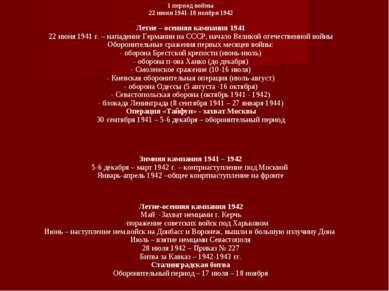 1 период войны 22 июня 1941-18 ноября 1942 Летне – осенняя кампания 1941 22 и...