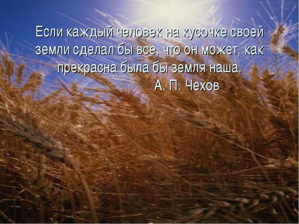 Если каждый человек на кусочке своей земли сделал бы все, что он может, как п...