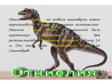 Отниелия . Сначала его назвали нанозавром, потом переименовали в честь знамен...