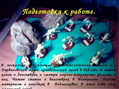Подготовка к работе. Я несколько раз посещал Палеонтологический музей и Дарви...