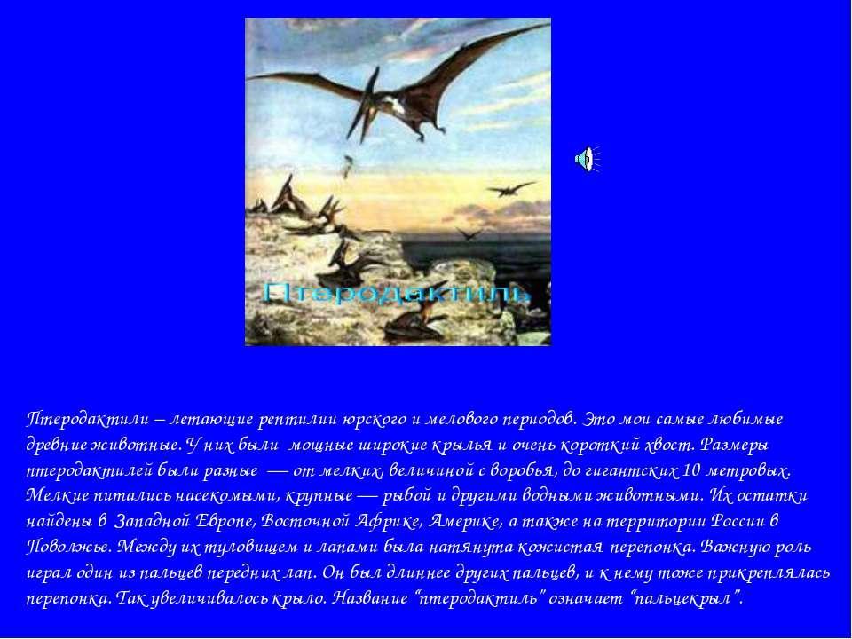 Птеродактили – летающие рептилии юрского и мелового периодов. Это мои самые л...