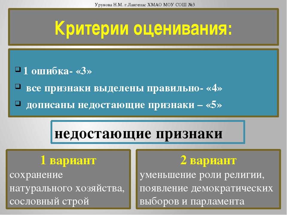 Критерии оценивания:  1 ошибка- «3» все признаки выделены правильно- «4» доп...