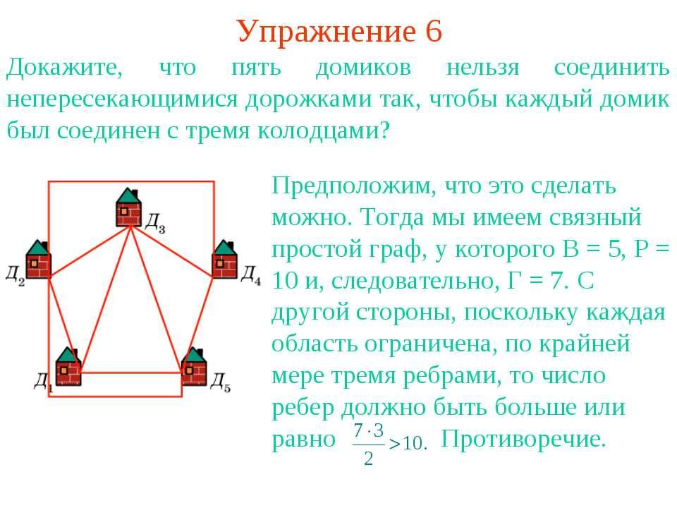 Упражнение 6 Докажите, что пять домиков нельзя соединить непересекающимися до...
