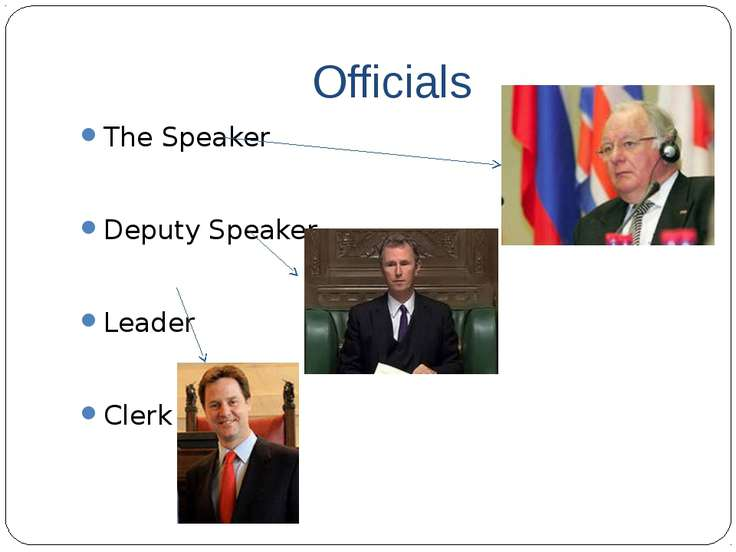 Officials The Speaker Deputy Speaker Leader Clerk