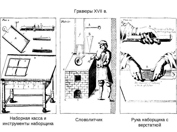 Наборная касса и инструменты наборщика Словолитчик Рука наборщика с верстатко...
