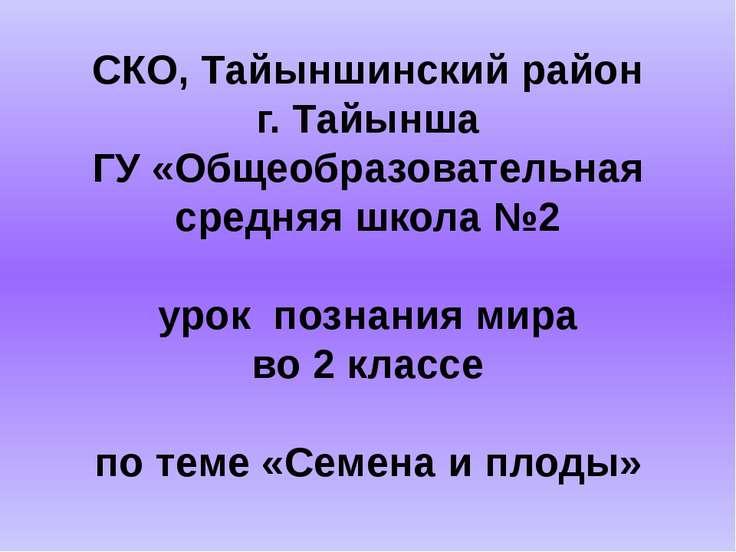 СКО, Тайыншинский район г. Тайынша ГУ «Общеобразовательная средняя школа №2 у...