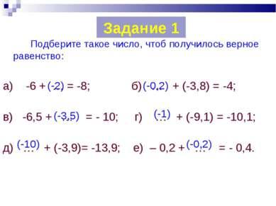 Подберите такое число, чтоб получилось верное равенство: а) -6 + … = -8; б) …...