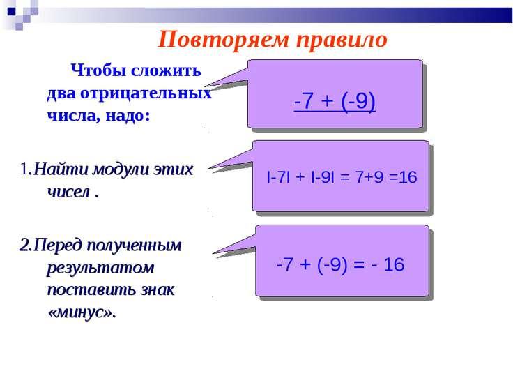 Чтобы сложить два отрицательных числа, надо: 1.Найти модули этих чисел . 2.Пе...