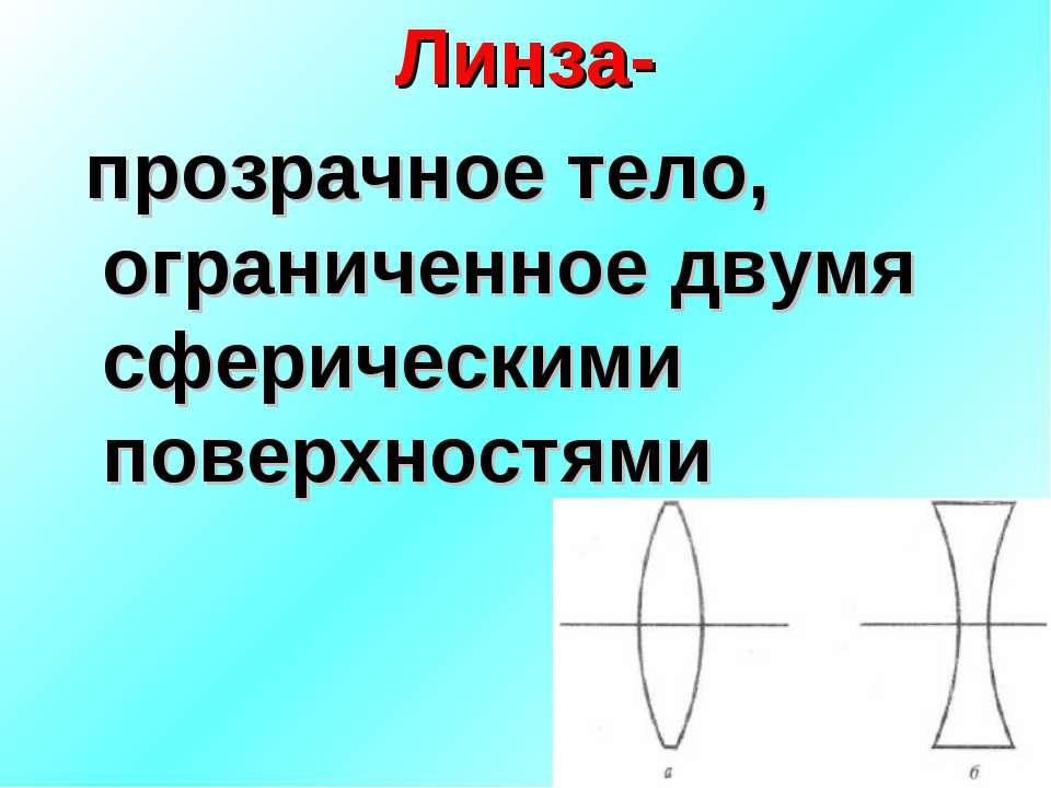 Линза- прозрачное тело, ограниченное двумя сферическими поверхностями