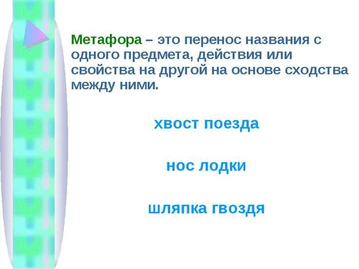 Метафора – это перенос названия с одного предмета, действия или свойства на д...