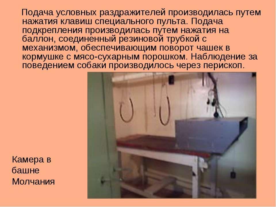 Подача условных раздражителей производилась путем нажатия клавиш специального...