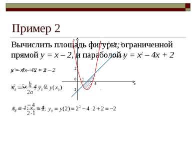 Пример 2 Вычислить площадь фигуры, ограниченной прямой y = x – 2, и параболой...