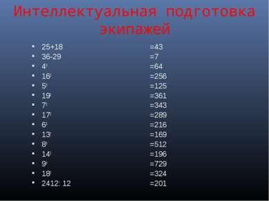 Интеллектуальная подготовка экипажей 25+18 36-29 43 162 53 192 73 172 63 132 ...