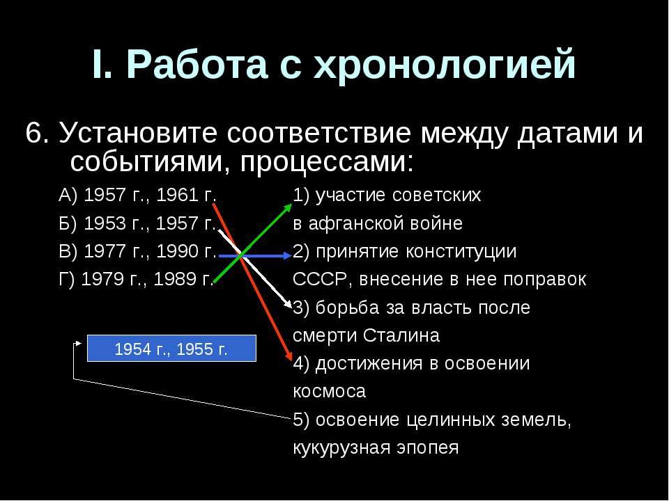 I. Работа с хронологией 6. Установите соответствие между датами и событиями, ...
