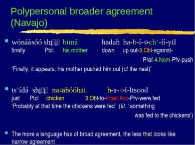 Polypersonal broader agreement (Navajo) wónáásóó shį į bimá hadah ha-b-í-ˀ-ch...