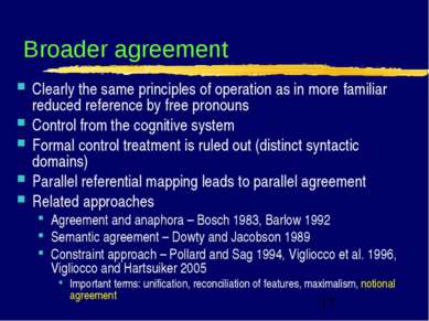 Broader agreement Clearly the same principles of operation as in more familia...