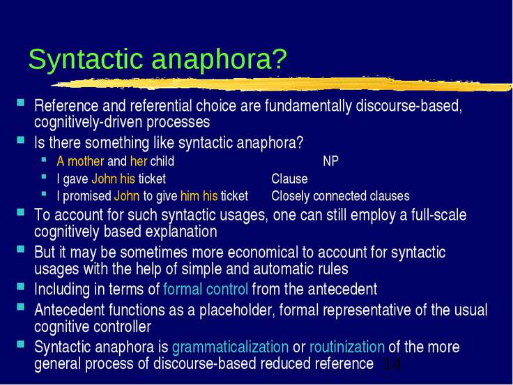 Syntactic anaphora? Reference and referential choice are fundamentally discou...