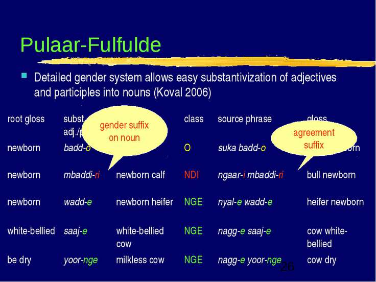Pulaar-Fulfulde Detailed gender system allows easy substantivization of adjec...