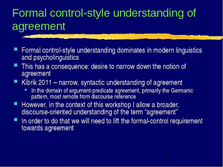 Formal control-style understanding of agreement Formal control-style understa...